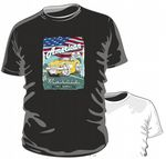 KOOLART AMERICAN MUSCLE CAR Design for Retro 50's Yellow Chevy Corvette mens or ladyfit t-shirt